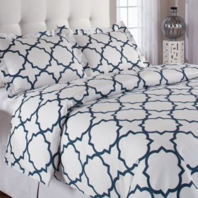 Quatrefoil Duvet Cover: Quatrefoil Duvet, Guest Bedrooms, Duvet Sets, Duvet Covers Sets, Master Bedrooms, Blue Patterns, Home Kitchens, Guest Rooms, Duvet Cover Sets