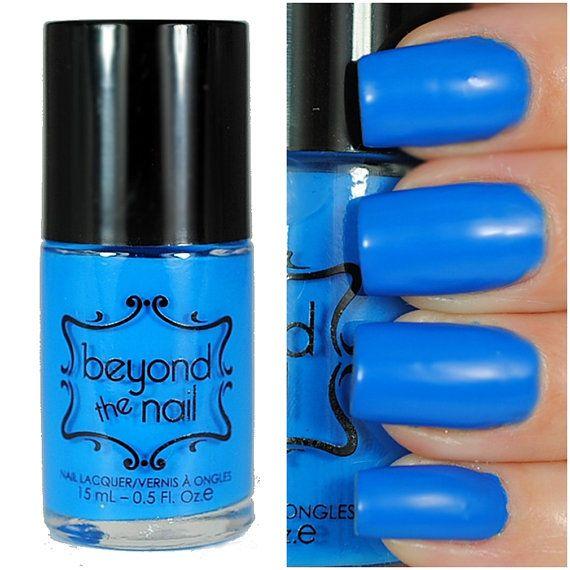 Neon Blue Nail Polish  UV Reactive by beyondthenail on Etsy
