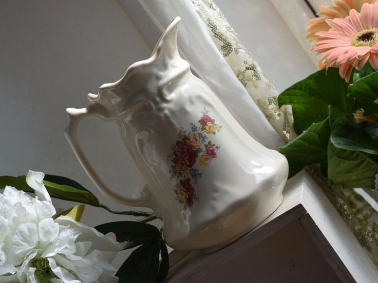 """Hand painted vintage beige floral jug, yellow and pink roses, ironstone, semi porcelain, 6.5"""" high by BitsnBobsnKeepsakes on Etsy"""