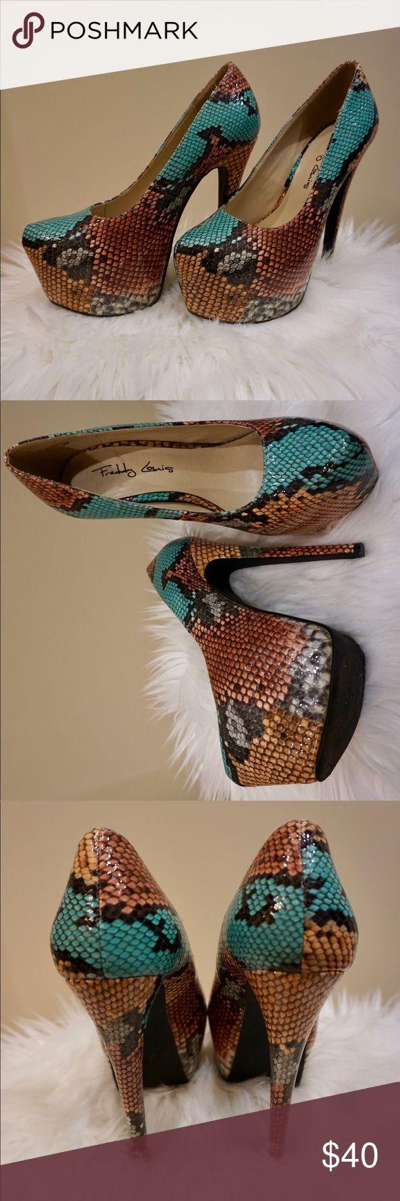 "Freddy Louis ""Chloe"" Faux Python Multi Color Pumps Color: Multi (Black, Teal, Sand, Rust, Off White) - Barely Worn Freddy Louis Shoes Platforms"