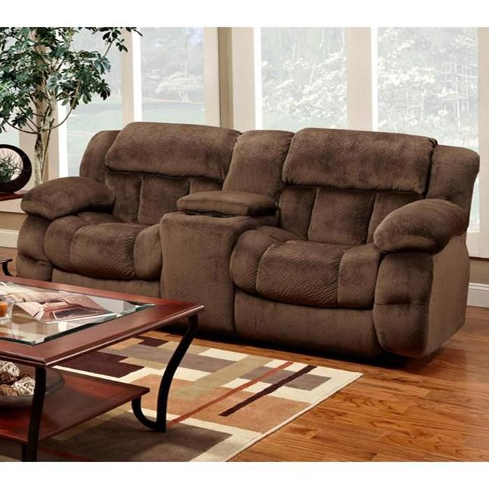 Recliner Console Love Seat in Champion Chocolate