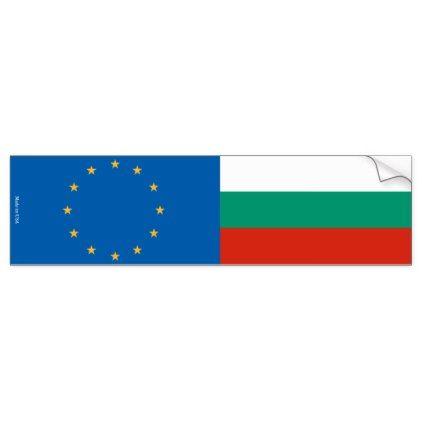 European Union & Bulgarian Flags Bumper Sticker - sticker stickers custom unique cool diy