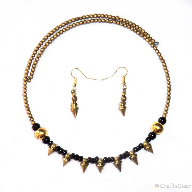 This is beautiful handcrafted #DokraNecklace and #Earrings set. The ethnic and traditional look make it more unique and trendy. The light weighted #Jewelry set gives you perfect look. $18.00