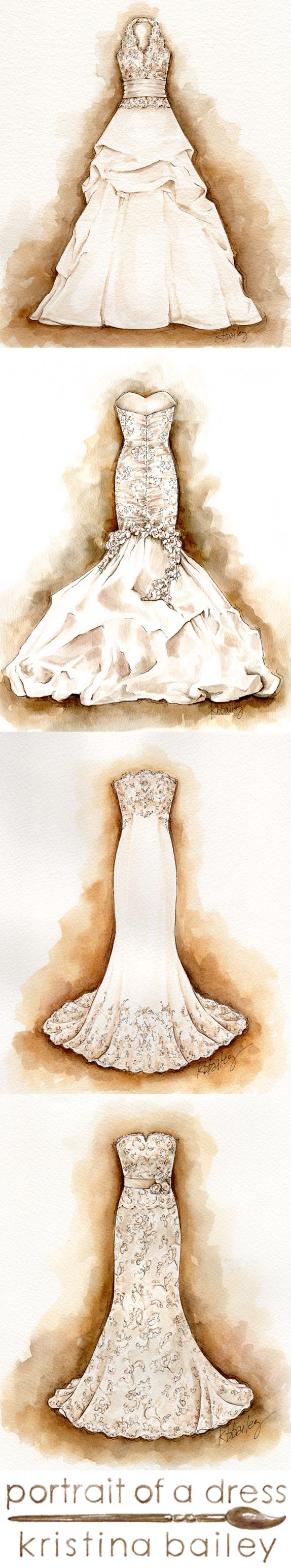 Custom Watercolor Wedding Dress Portraits by Kristina Bailey. Great #wedding #gift or #firstanniversary gift www.portraitofadress.com