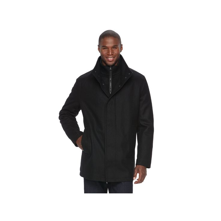 Men's Andrew Marc Wool-Blend Car Coat, Size: Medium, Black