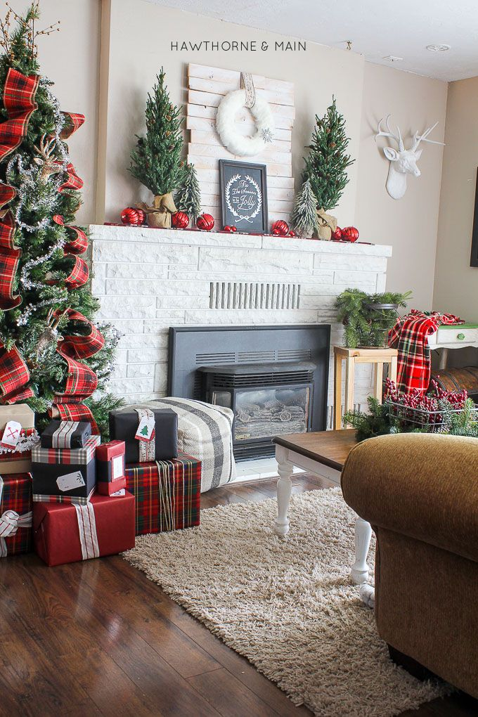 Love all this fun rustic plaid christmas decor!! So much great color and texture. Pinning!!: