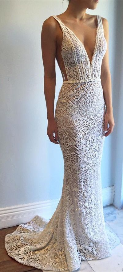 New Arrival Wedding Dress,Exquisite Deep V-Neck Sweep Train Lace Backless Mermaid Wedding Dress with Beading