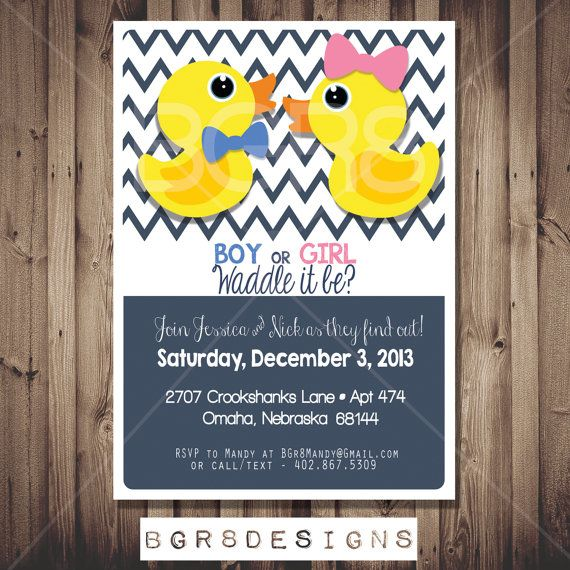 Waddle It Be? Gender Reveal Party Invitation. Rubber Ducky Themed. | Digital Invitations, Etsy ...