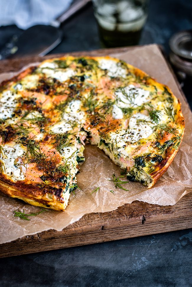 A cottage cheese kale smoked salmon frittata frittata that's low in calories but full of flavour. Serve cold for breakfast or with a light salad for lunch.