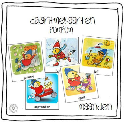 Kalenderkaarten MAANDEN (Pompom) | Methode SCHATKIST