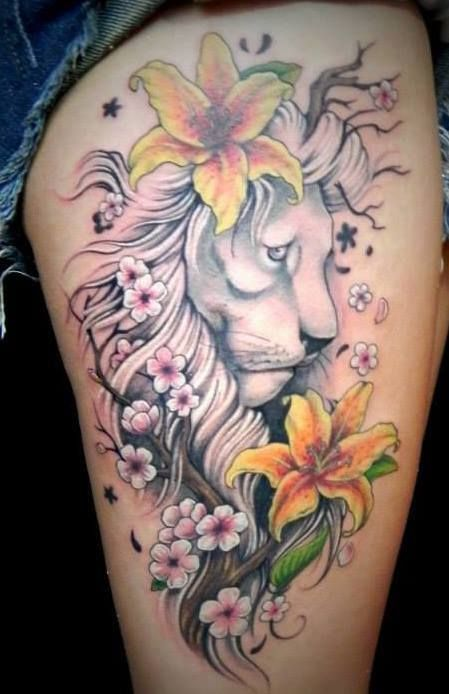 27 best lion thigh tattoos for women images on pinterest for Lion tattoos for females