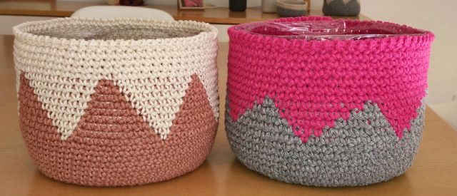 Crochet baskets using recycled water jugs, by AM