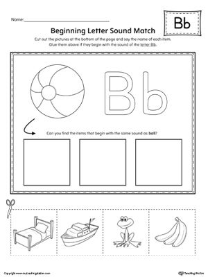 learning letter sounds letter b beginning sound picture match worksheet 2779