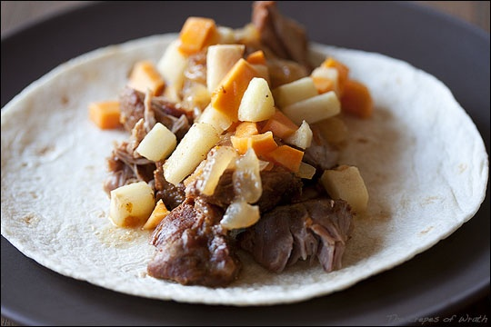 Beer Braised Carnitas with Sweet Potato and Apple Relish