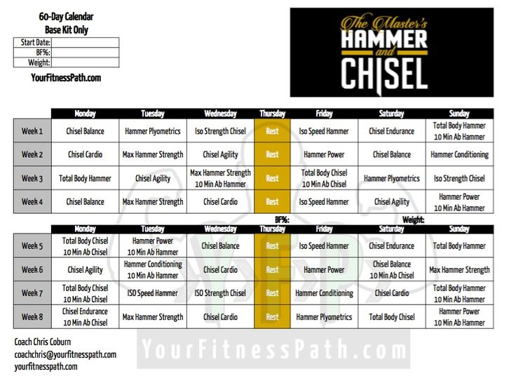 Hammer and Chisel Workout Calendar - Your Fitness Path