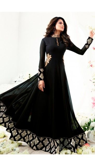 Jennifer Winget Black Georgette And Silk Anarkali Suit With Dupatta - DMV14880