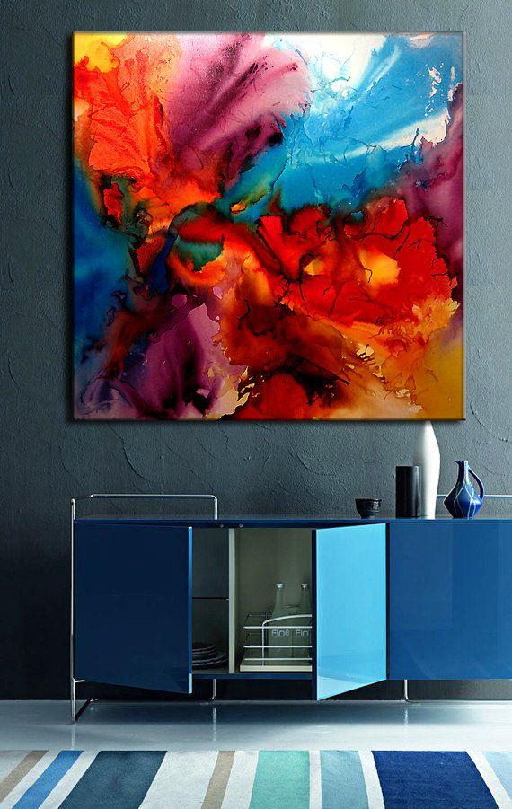 Abstrakte Malerei, bunte Wandkunst, abstrakte Kunst, große moderne Fine Art, Marmor Malerei Wandkunst Home Decor