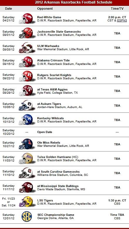 Arkansas Razorbacks Football Team 2012 Schedule