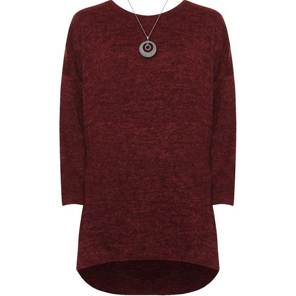 WearAll Plus Size Batwing Sleeve Dip Hem Knitted Necklace Top ($31) ❤ liked on Polyvore featuring plus size women's fashion, plus size clothing, plus size tops, wine, wine top, red top, flared top, red plus size tops and womens plus tops