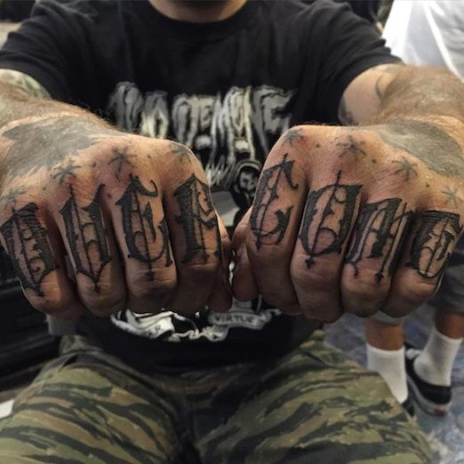 90 best knuckle tattoos images on pinterest knuckle for Letter tattoos on hand