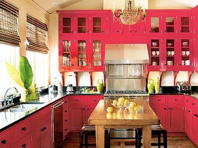 bold: Hotpink, Dreams Kitchens, Kitchens Design, Red Kitchens, Hot Pink, Pink Kitchens, Colors Kitchens, Kitchens Cabinets, Red Cabinets