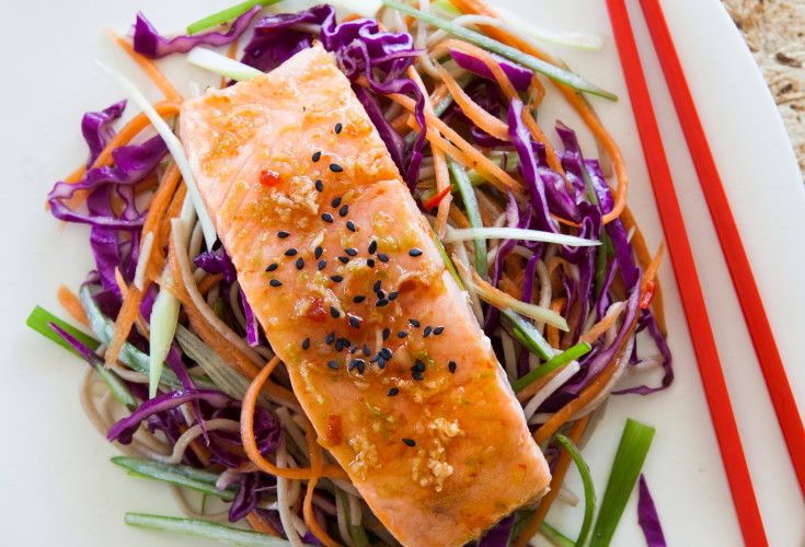 Grilled Salmon with Rainbow Noodles   Nadia Lim