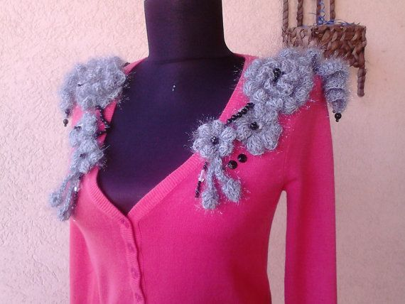 Women cashmere Blouse with hand crocheted by AnnesMagicCrochet