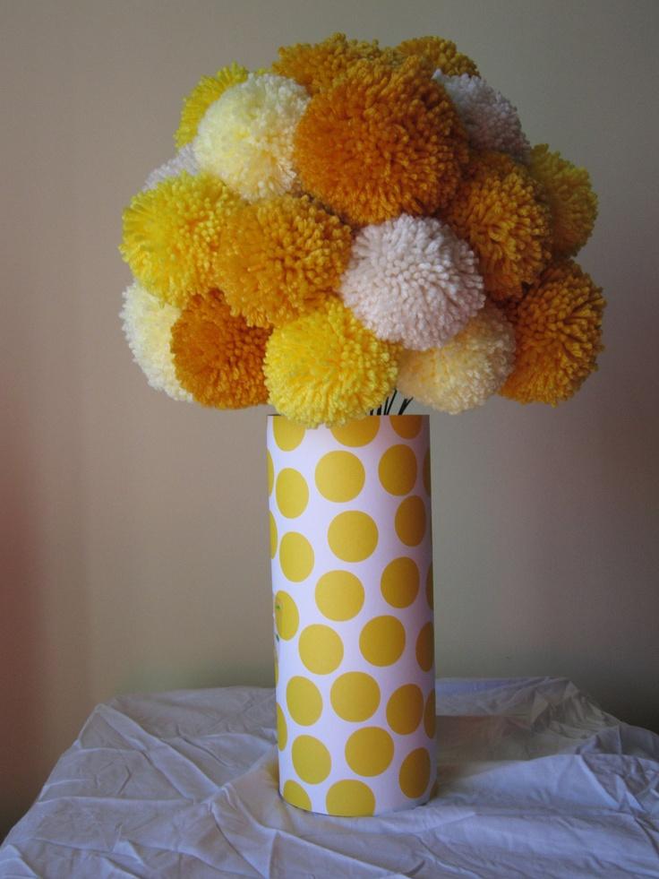 Large Bouquet - 25 Yarn Pom Pom Flowers in Yellow Tones. $55.00, via Etsy.