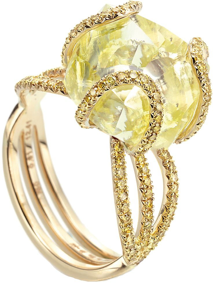 Solitaire ring features a 12.41ct rough diamond accented with 0.61cts of micro pavé vivid yellow diamonds in 18k yellow gold by Diamond in the Rough
