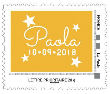 Timbre personnalisé Naissance étoiles par la Papeterie de Paris. timbre poste faire-part naissance. Timbre La Poste faire-part.