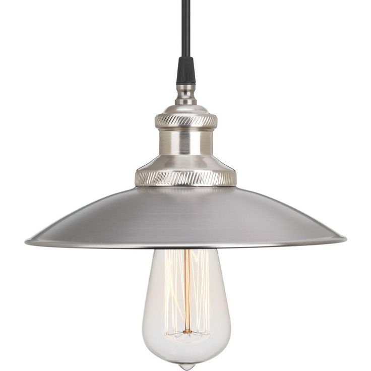 Progress lighting archives collection 1 light antique nickel pendant