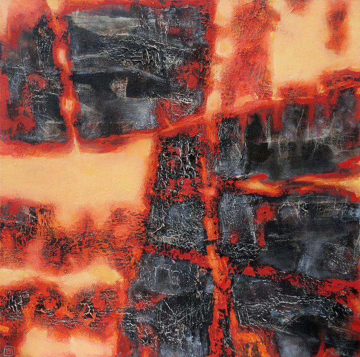 Burning coal 1 de 2 mixed media on canvas 75 x 75 cm 2010