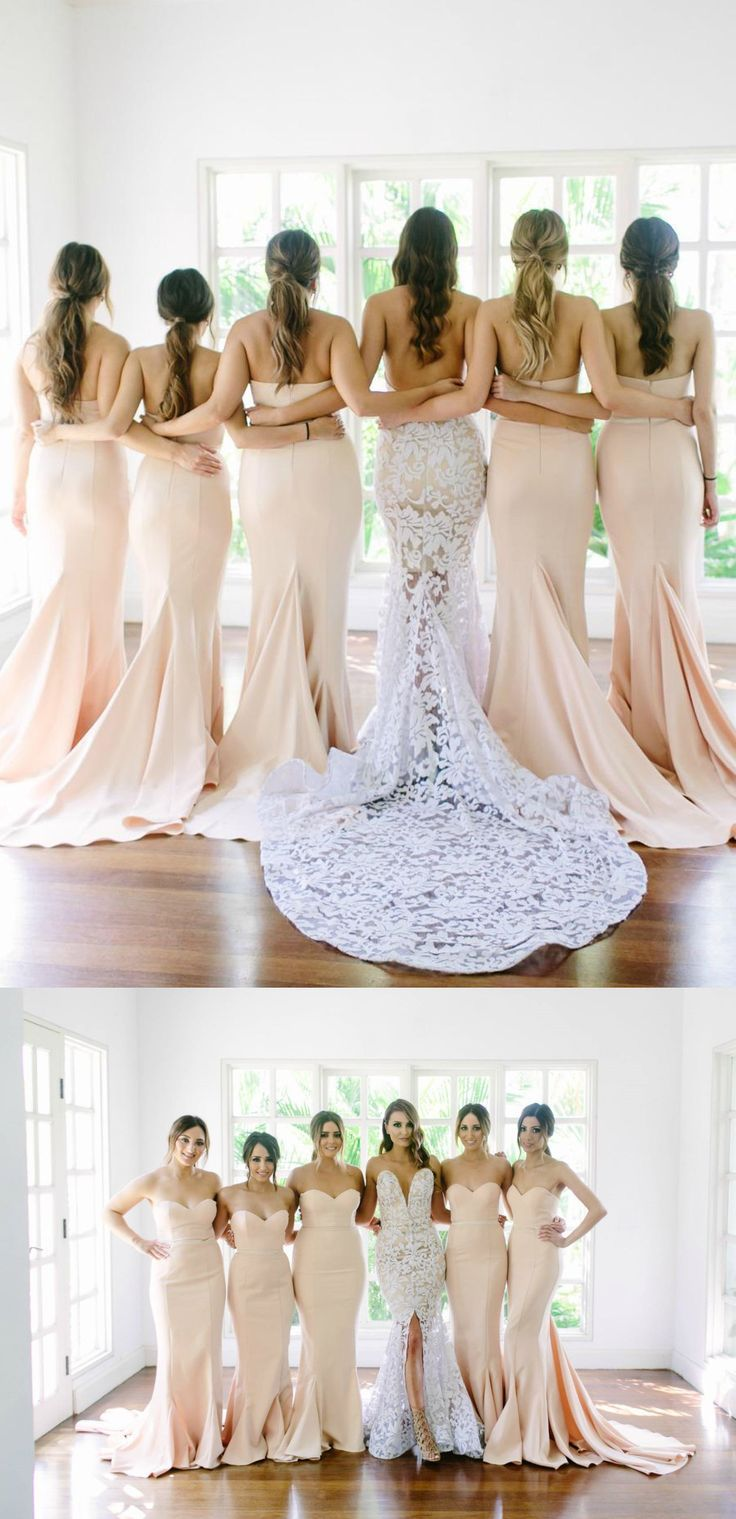 Hot-selling Sweetheart Court Train Champagne Mermaid Bridesmaid Dress Women, Men and Kids Outfit Ideas on our website at 7ootd.com #ootd #7ootd
