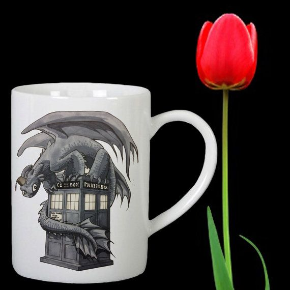 Toothless and the TARDIS police box design for mug by Mbelgedes