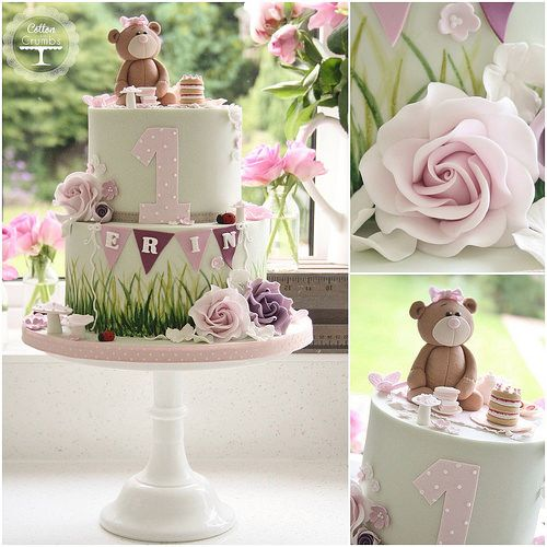 Cute teddy bear 1st birthday cake.  By Tracy James / Cotton and Crumbs