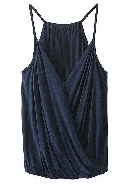 Front view of dark blue surplice cami top