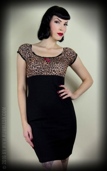Rumble59 Ladies - Carmenkleid - Hot Leopard dress dierenprint luipaard jurk korte mouwen
