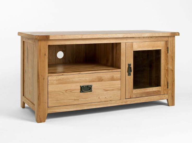 Westbury Oak TV Cabinet for up to 50 - Every piece within the Westbury Oak range is carefully made with dovetailed drawers and comes complete with solid oak drawer bases and cabinet backs. The Westbury Oak range has classically-styled metal handles, which offset the light oak timbers beautifully.