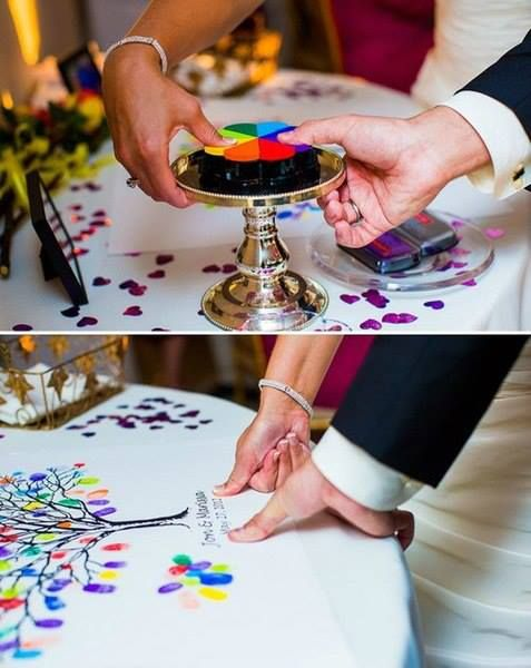 brilliant! Instead of having the guests sign a tablecloth, have them print their thumb with colorful ink on it.