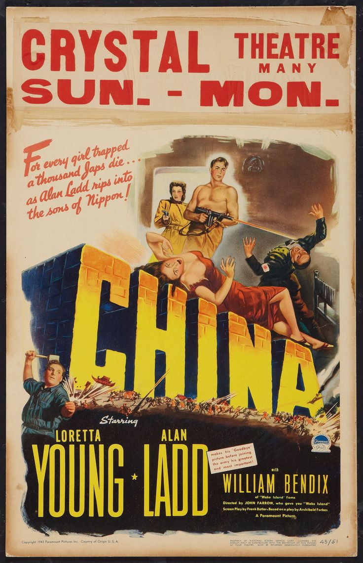 1943 CHINA John Farrow Old movie posters, Paramount