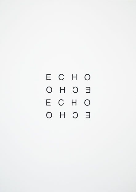 Echo, black white | typography / graphic design: Heinz Gappmayr @ visual poetry |