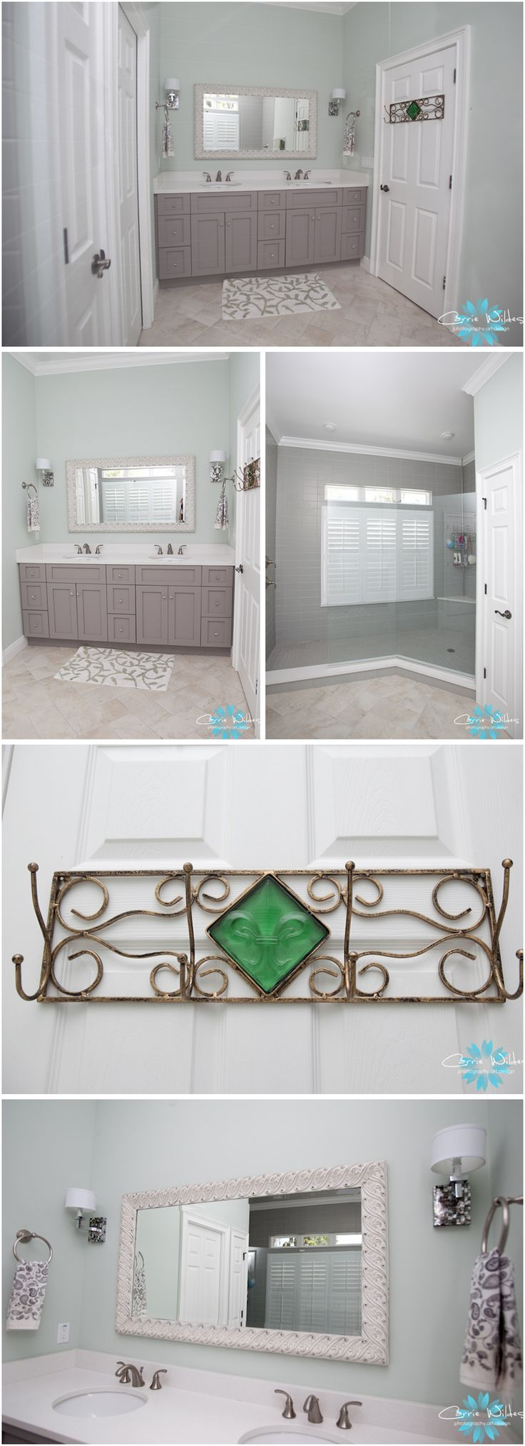 shabby chic bathroom! Paint a wire, metal scrolly thing for towels