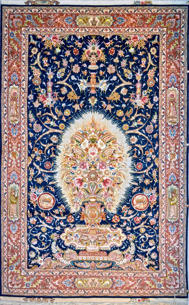 Persian Rugs Design Flower Vase Size 180 X 285 Cm 10 4 Ft Origin Tabriz Foundation Silk Material Wool Weave Hand Woven Age