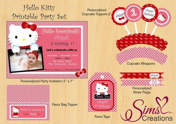 Hello Kitty Printable Party Set Hello Kitty por SimsLuvCreations