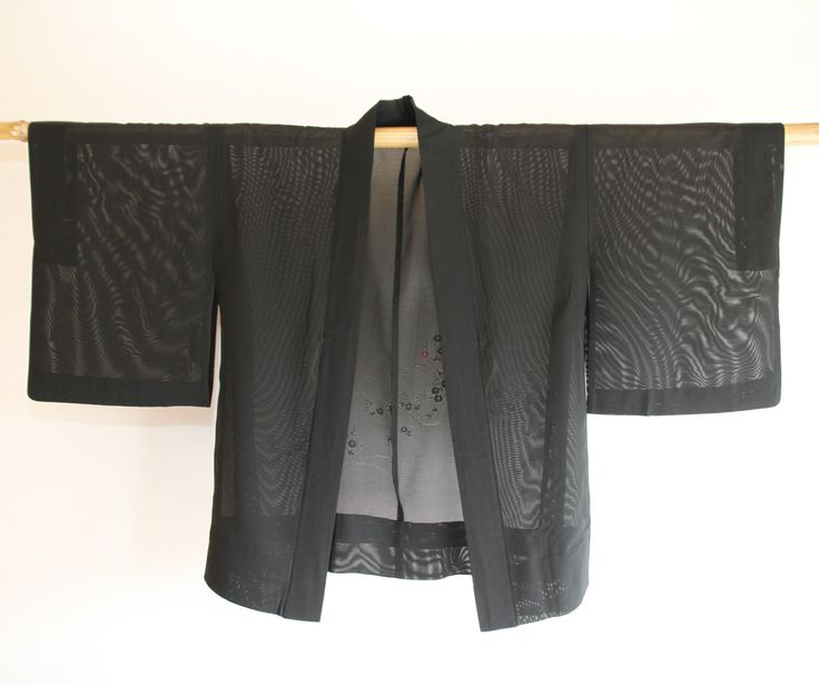 Filmy Black Japanese Summer Kimono Vintage Jacket Haori, Sakura Robe, Coverup, Boho Outfit, Festival Wear, Costume, Gifts Under 50, For Her by CJSTonbo on Etsy
