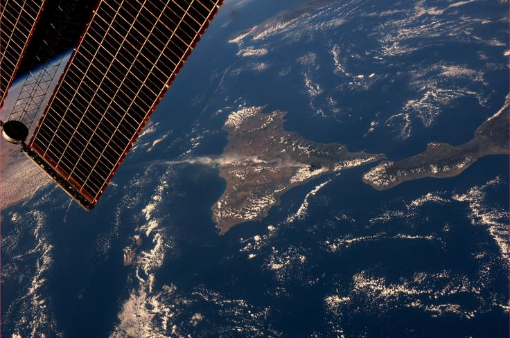 Our view from ISS of Mount Etna erupting.  Taken October 26, 2013.  KN from space.