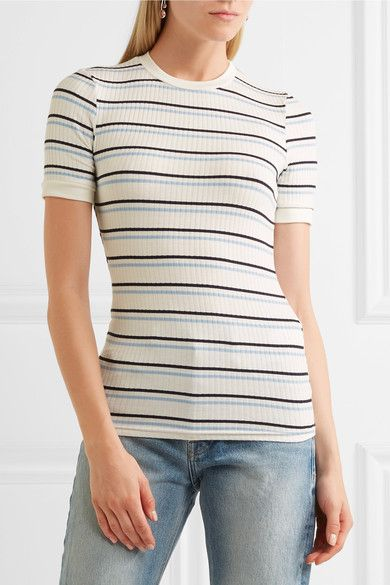 FRAME - Striped Ribbed Stretch-jersey T-shirt - White - x small