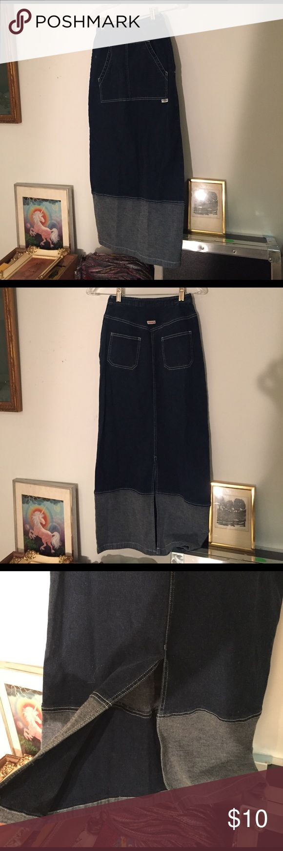 Tight high waisted denim skirt Early 2000's stretch denim skirt. High waisted. Must have small waist. Awesome front pocket. Nice and tight to show curves Skirts Pencil
