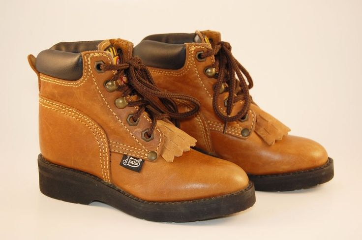 Justin Work Boots Toddler 9 D Leather Kiltie Lace Up Junior Original Brown Farm #Justin #Boots