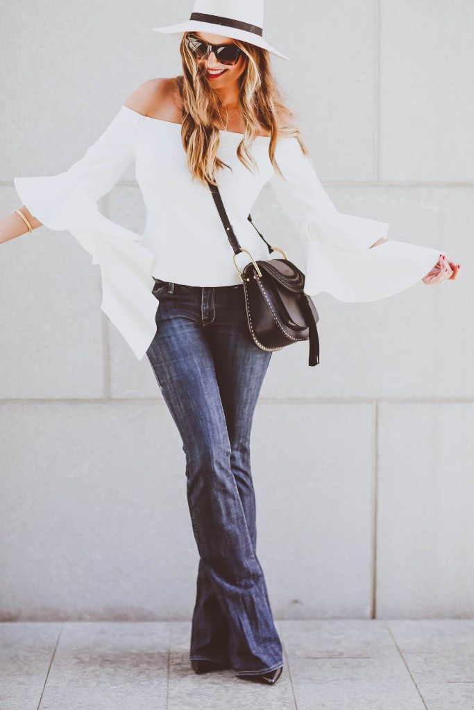 Заявление рукава, факельные джинсы, падение снаряжение идеи, белые фетровую, Хлоя Hudson мешок, красные губы, Селин очки